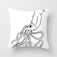 squid Throw Pillows featuring Squid by Travelers Checks