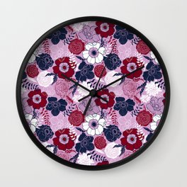 Anemones and Roses flowers Wall Clock