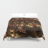 christmas tree Duvet Covers featuring Christmas tree. by Assiyam
