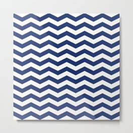 Navy Chevron Pattern Metal Print