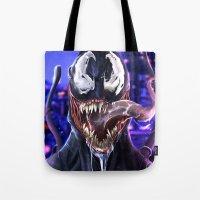 venom Tote Bags featuring VENOM by corverez