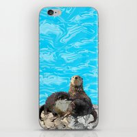 otters iPhone & iPod Skins featuring Where the River Meets the Sea Otters by Distortion Art