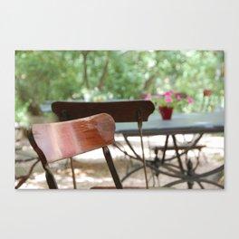 Table et chaises, Atelier de Cézanne ~ Table and chairs in garden, Cezanne's home. Canvas Print