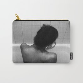 Digital photo photography black and white girl naked sitting in bathtub bath nude back Carry-All Pouch