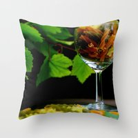 pasta Throw Pillows featuring Tricolor Pasta by Tanja Riedel