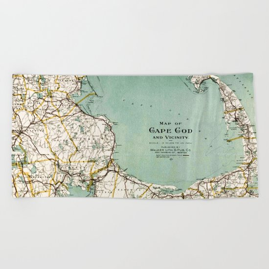 Cap Cod and Vicinity Map Beach Towel