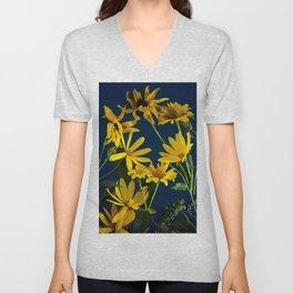Yellow floral background Unisex V-Neck