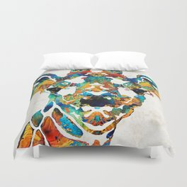 Colorful Giraffe Art - Curious - By Sharon Cummings Duvet Cover