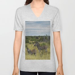 Zebra Mother And Child Unisex V-Neck