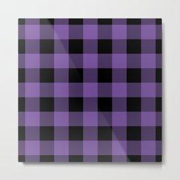 Purple and Black Gingham Pattern Metal Print