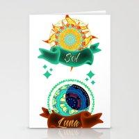 sun and moon Stationery Cards featuring Sun & Moon by Amanda Jonson
