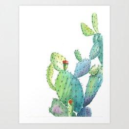 Blooming Prickly Pear Cactus Art Print