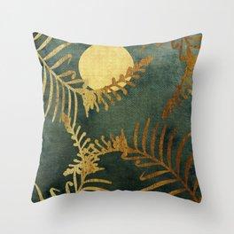 Golden Cycas leaves on dark green canvas Throw Pillow