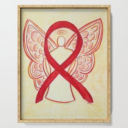 Red Awareness Ribbon Angel Art Serving Tray