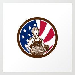American Female Organic Farmer USA Flag Icon Art Print