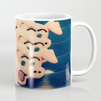 pigs Mugs featuring Carnie Pigs by maybesparrowphotography