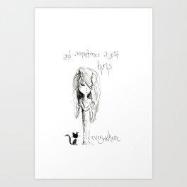 Sad Cat Girl Art Print