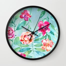 Pink Watercolor Flowers on Green Leaves Wall Clock