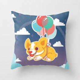 Balloon Corgi Throw Pillow