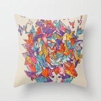 birdy Throw Pillows featuring Birdy by Julia Sonmi Heglund