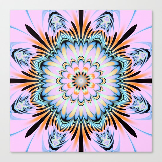Decorative fantasy flower with a pastels heart Canvas Print