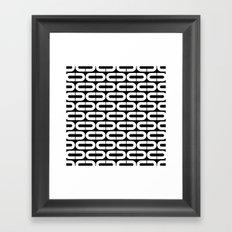 Contemporary Black and White Split Ovals Pattern Framed Art Print