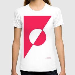 coral/white circle oblique T-shirt
