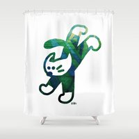 socks Shower Curtains featuring A Green Cat With White Socks by Teesha Toosha