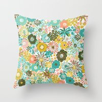 February Floral Throw Pillow