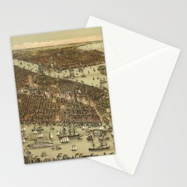 Vintage Pictorial Map of NYC and Brooklyn (1892) Stationery Cards