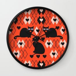 Cats and hearts with diamonds Wall Clock