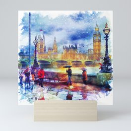London Rain watercolor Mini Art Print