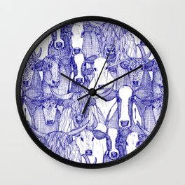 just cattle blue white Wall Clock