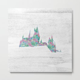 Hogwarts School of Witchcraft and Wizardry Floral Pattern Metal Print