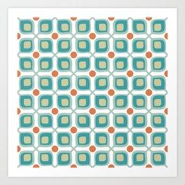 Abstract Flower Pattern Mid Century Modern Retro Turquoise Orange Art Print