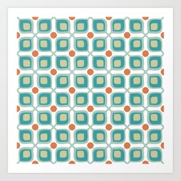 Abstract Flower Pattern Mid Century Modern Retro Turquoise Orange Art Print