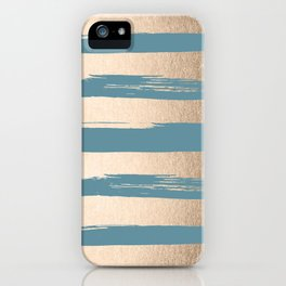 Painted Stripes Gold Tropical Ocean Blue iPhone Case