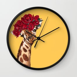Giraffe with Rose Flower Crown in Yellow Wall Clock