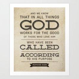 Romans 8:28 Bible Verse Art Print