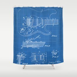 Guitar Tremelo Patent - Guitarist Art - Blueprint Shower Curtain