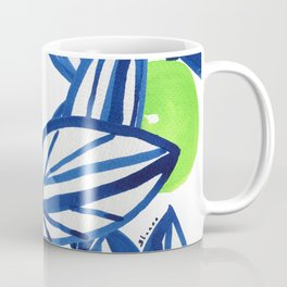 Blue and lime green abstract apple tree Coffee Mug