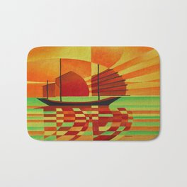 Junk on Sea of Green Cubist Abstract  Bath Mat