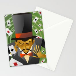 top hat magician poker cards magic trick Stationery Cards