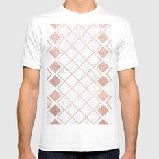 Rose gold white marble nordic geometric diamond pattern Mens Fitted Tee White MEDIUM