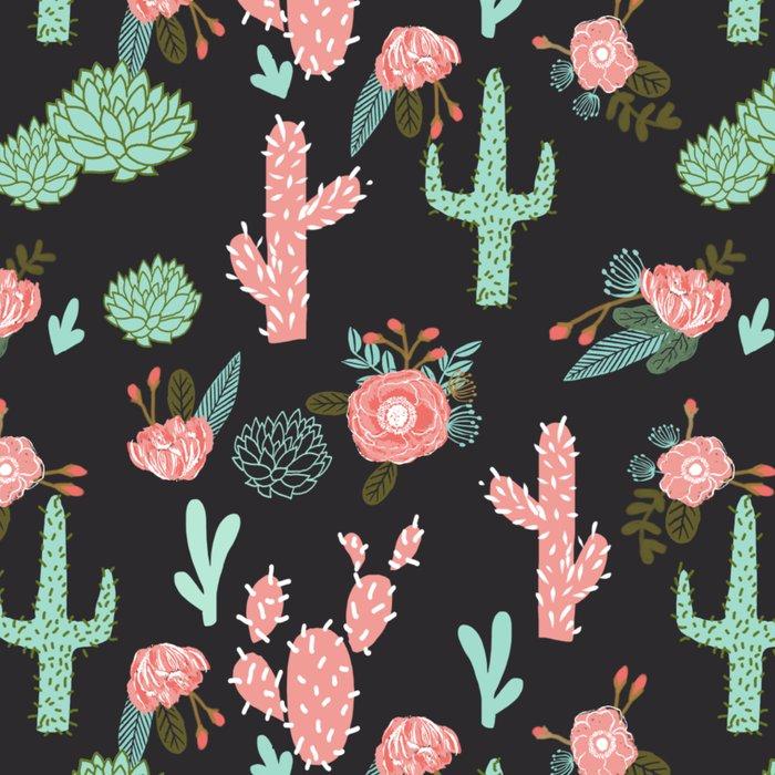 Cactus florals dark charcoal colorful trendy desert southwest house plants cacti succulents pattern Leggings