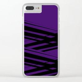 Black Diagonal Crossing On  Purple Clear iPhone Case