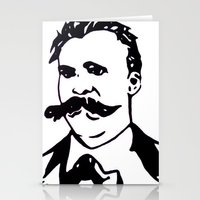 nietzsche Stationery Cards featuring  Friedrich Nietzsche Portrait Black and White Modern Art hand done  by The Odd Portrait