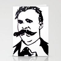 nietzsche Stationery Cards featuring  Friedrich Nietzsche Portrait Black and White Modern Art hand done  by The Odd Portrait