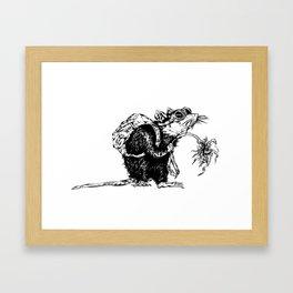 Rat with Flower #3, travel rat Framed Art Print