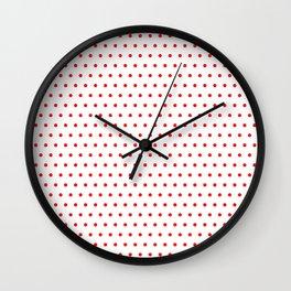 Polka / Dots - White / Red - Small Wall Clock